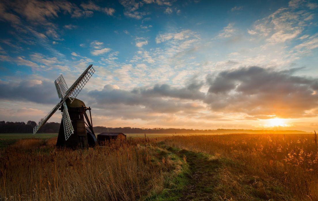 field morning sunrise mill windmill wallpaper