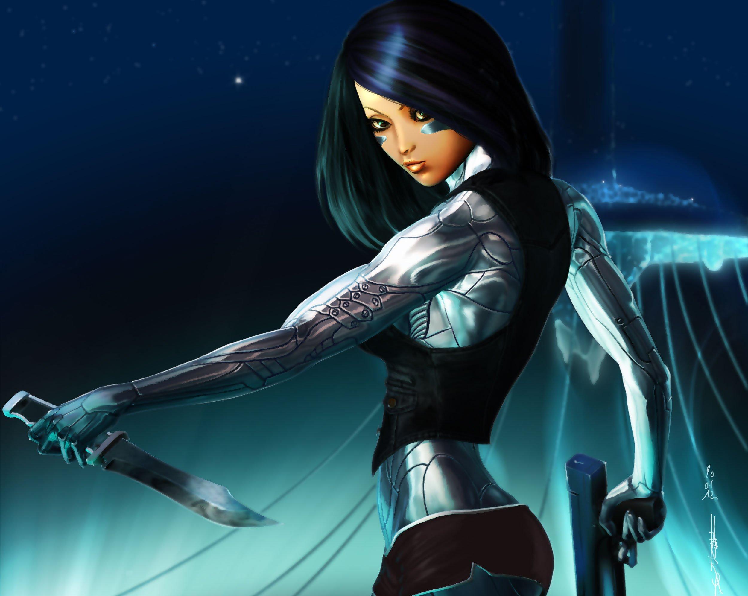 Girl Fantasy Art Weapon Gun Knife Warrior Cyborg Robot Sci