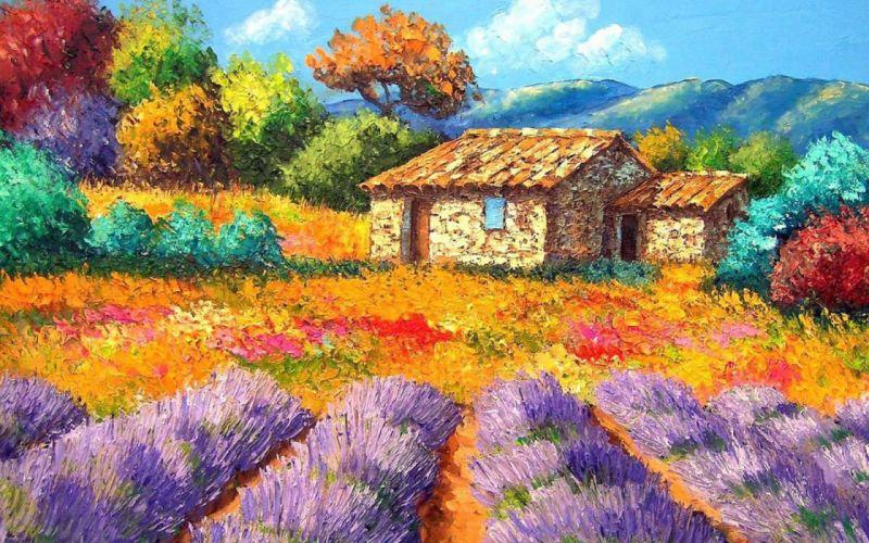garden house painting yard landscape wallpaper