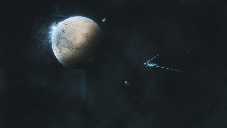 galaxy planet art stars spaceship sci-fi wallpaper