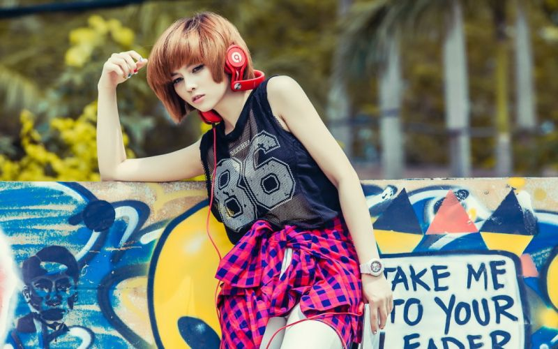 headphones asian music girl wallpaper