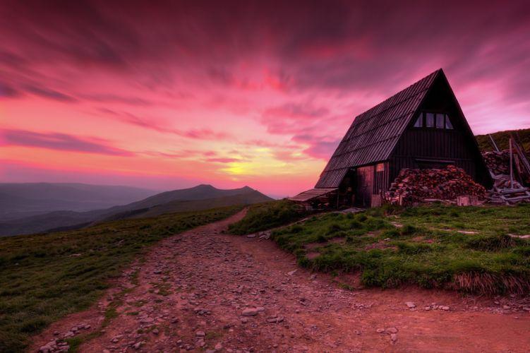 House poland mountains sunset sunrise wallpaper