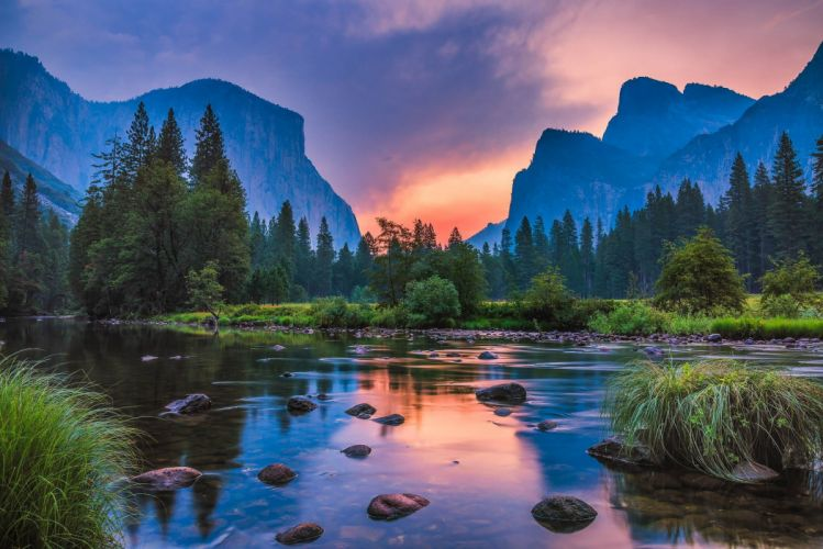 landscape nature sunset mountains river reflection wallpaper