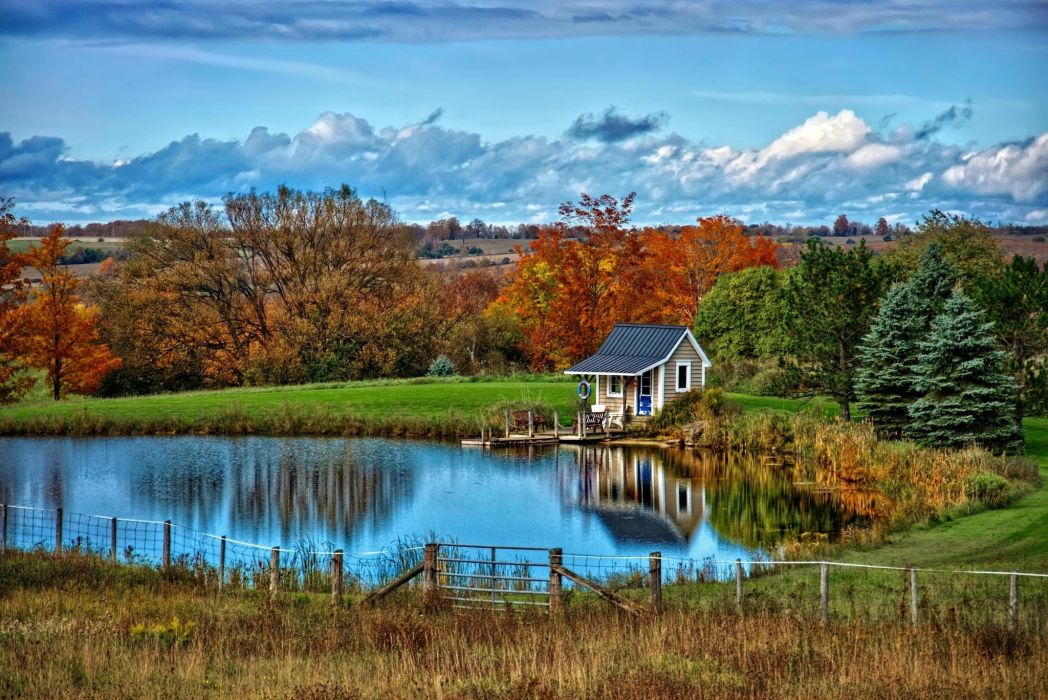 landscape nature autumn lake house clouds trees wallpaper