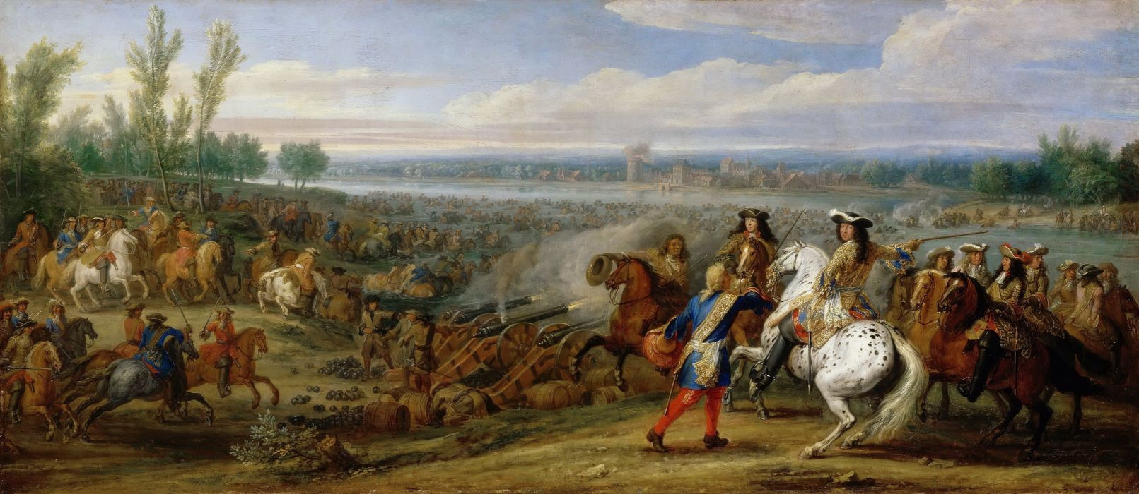 Melun Crossing the Rhine by the French military painting artwork wallpaper