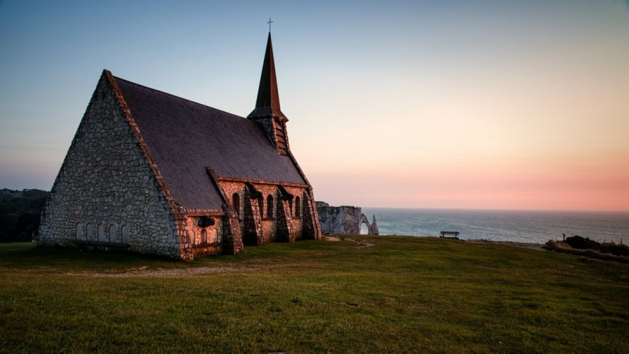 Normandy chapelle notre-dame de la garde church religion ocean sea wallpaper