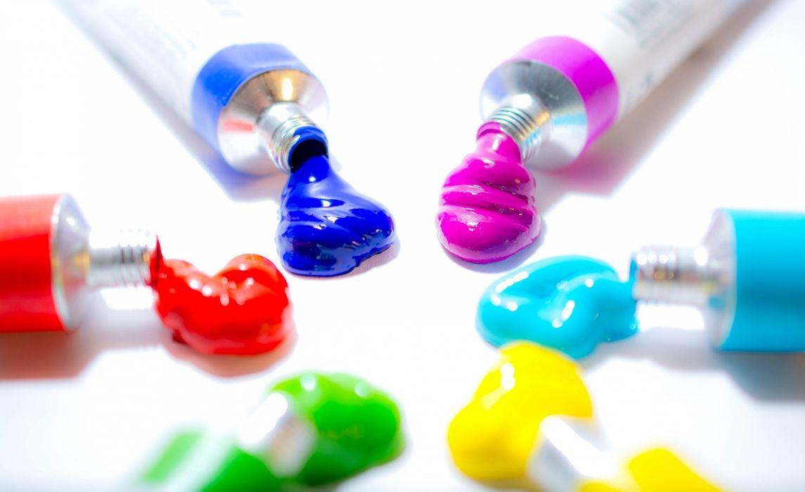paint tubes color light background close up wallpaper
