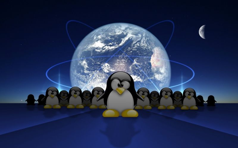 penguin cartoon earth planet sci-fi wallpaper
