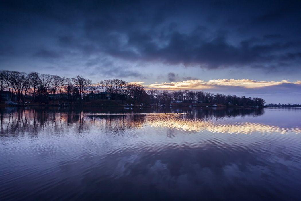 river shore Maryland USA evening reflection wallpaper