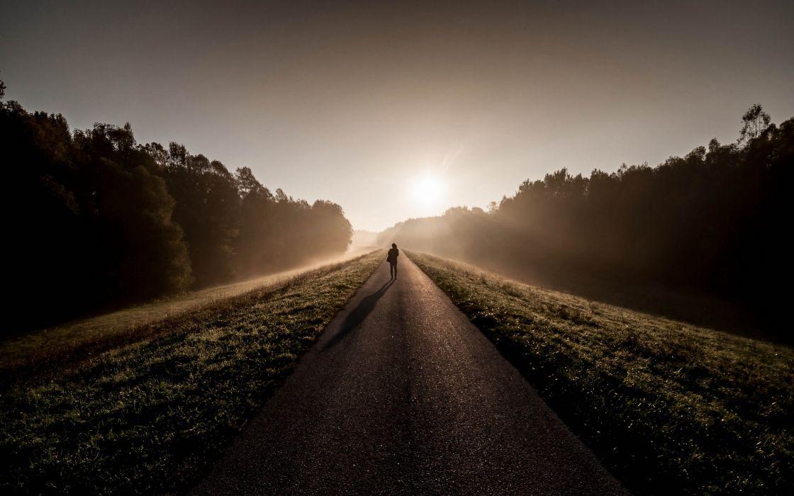road man morning fog mood wallpaper