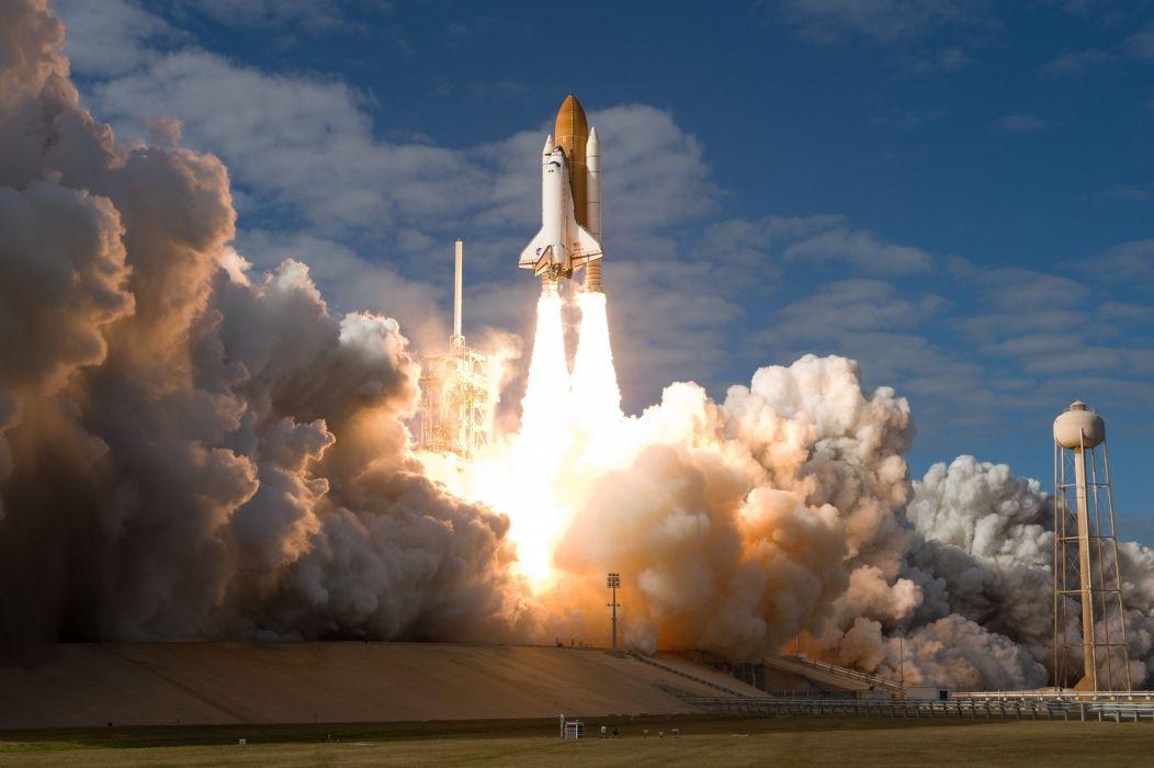 Shuttle Launch Site Atlantis Spaceship Space Rocket Fire Nasa Wallpaper
