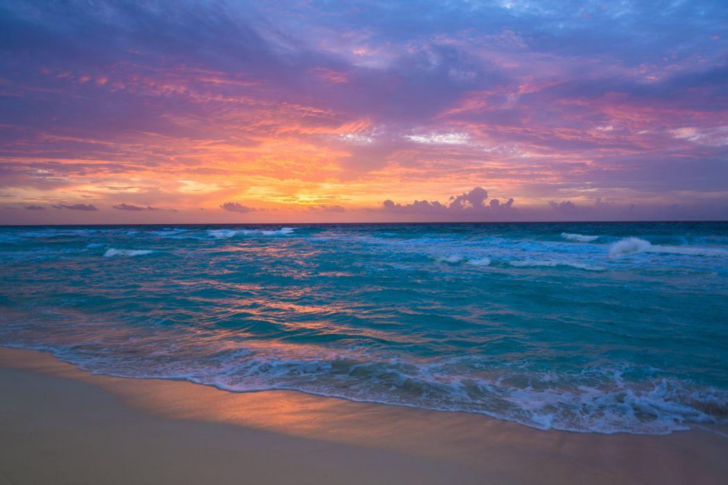 sea surf sunrise waves sand ocean beach wallpaper
