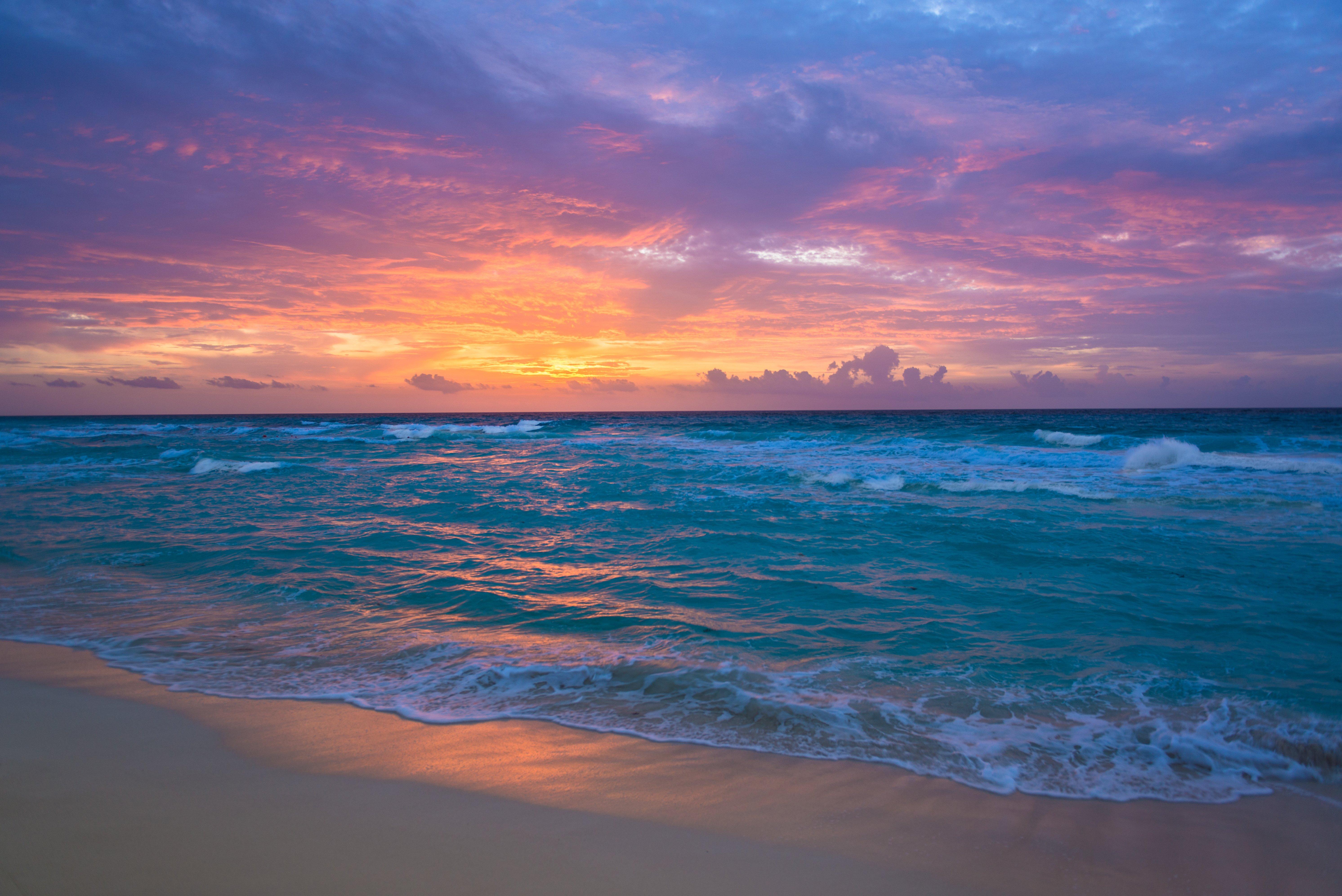 Sea Surf Sunrise Waves Sand Ocean Beach Wallpaper 5969x3985