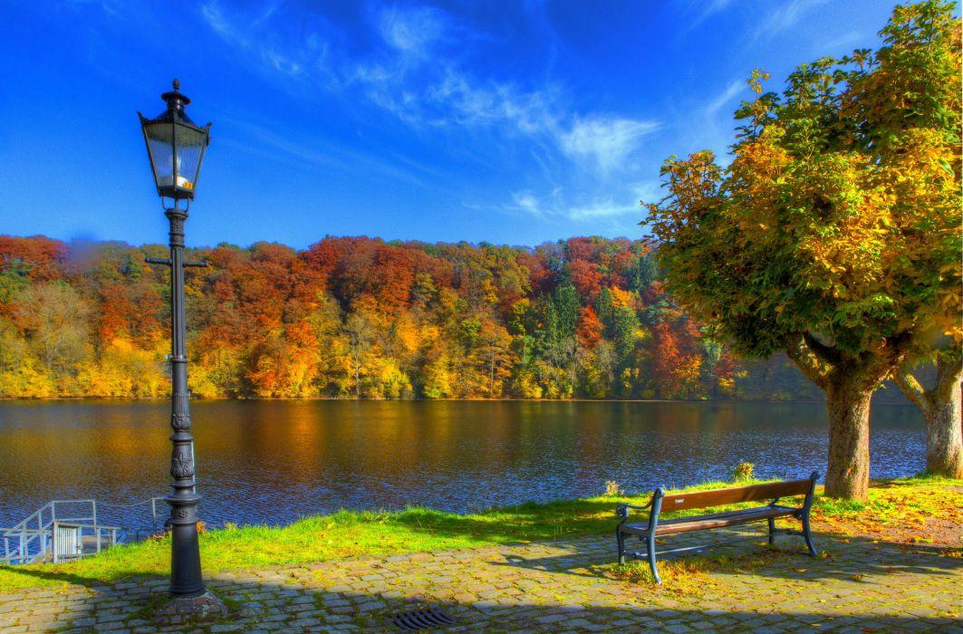 sky autumn Ulm river germany bench lantern lamp post wallpaper