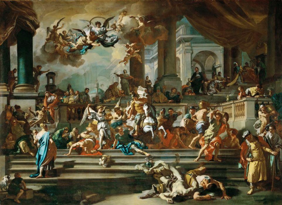 Solimena Eliodoro Expulsion of the temple religion christian painting angel artwork battle wallpaper
