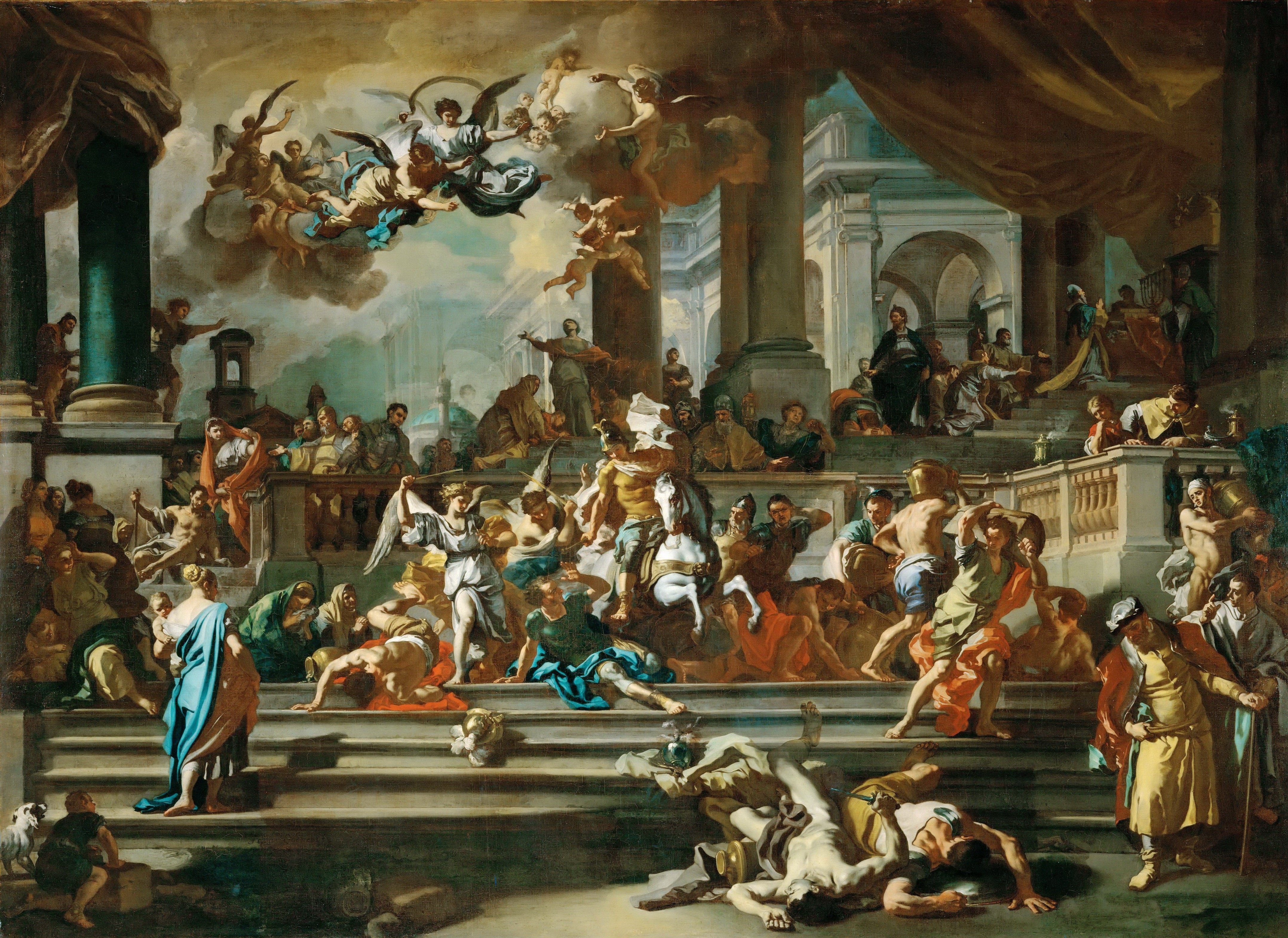 Solimena eliodoro expulsion of the temple religion for Christian mural paintings