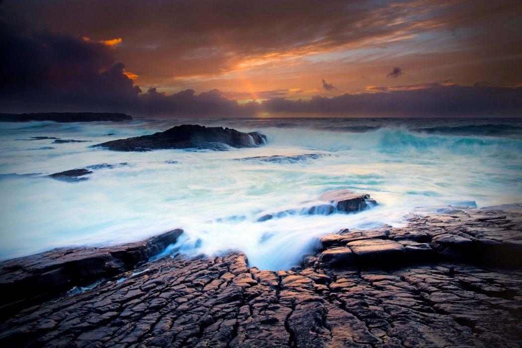 sunset sea ocean beach waves wallpaper