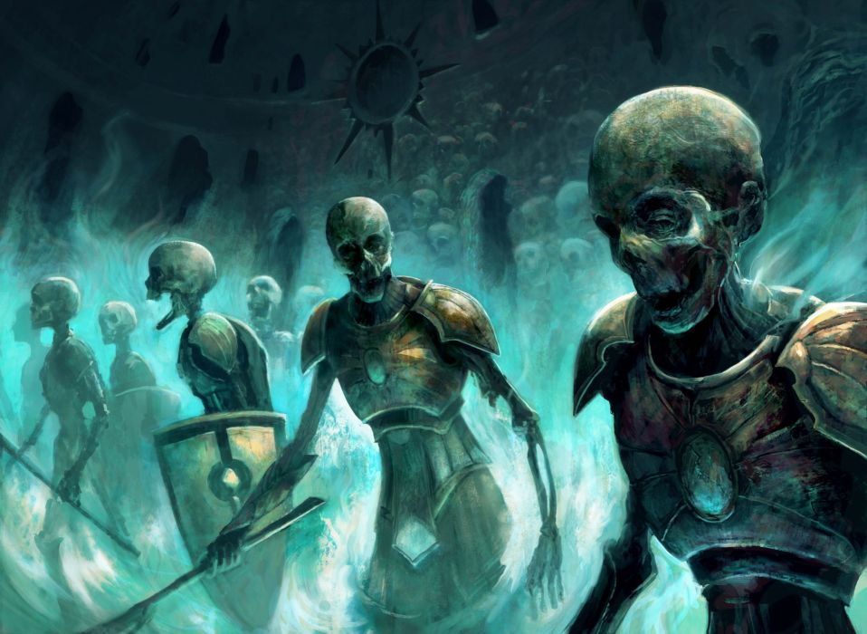 undead magic skeletons art zombies warrior weapon dark fantasy skull wallpaper