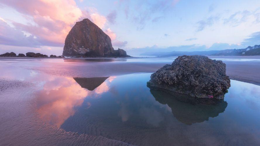 water rock stone clouds dawn sea ocean beach wallpaper