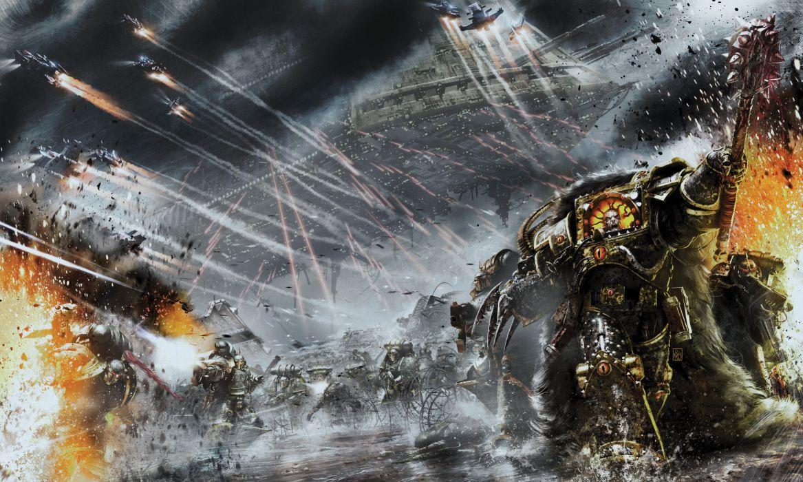 warhammer 40000 vengeful spirit battle barge horus heresy sci-fi warrior armor spaceship battle wallpaper
