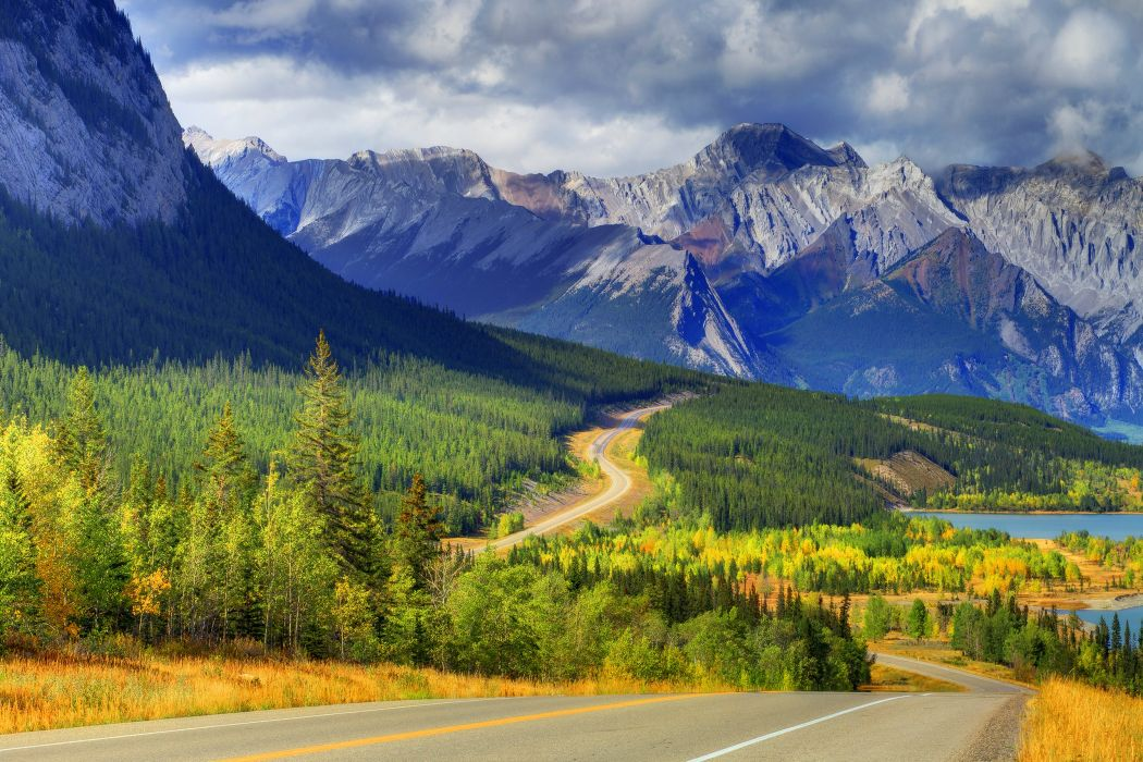 abraham lake banff alberta canada sky mountain lake forest trees autumn road sky clouds clouds wallpaper
