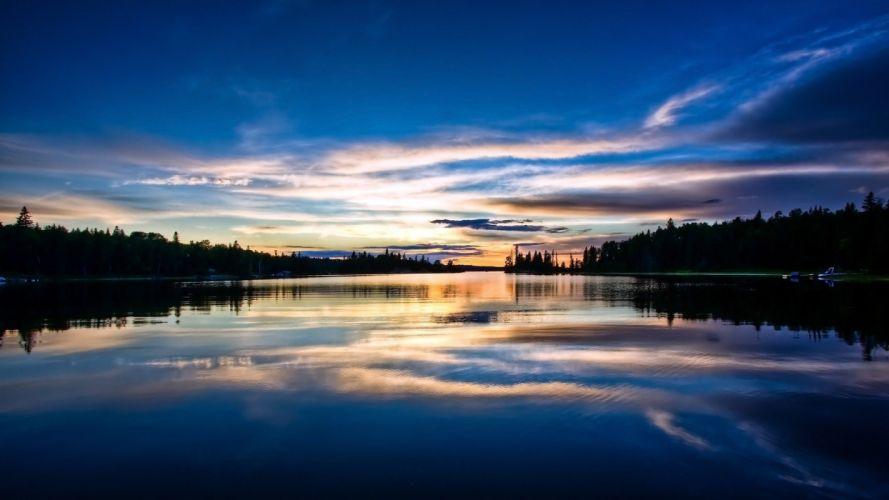 river reflection sky wallpaper