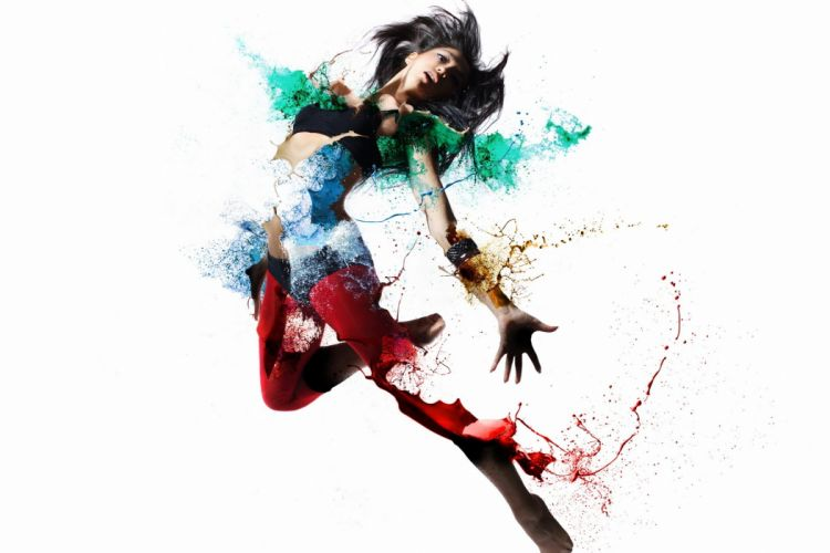 girl shape color style psychedelic dance wallpaper