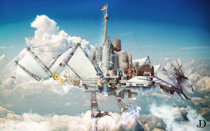 Creative Fantastic world Clouds Fantasy sci-fi city steampunk wallpaper