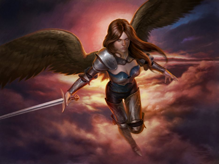 Angel Sword Armor Clouds Wings Fantasy warrior wallpaper