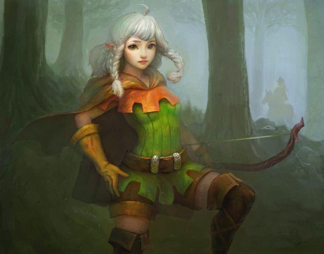 Dragons crown Elves Archer Braid hair Games Girls Fantasy warrior elf wallpaper