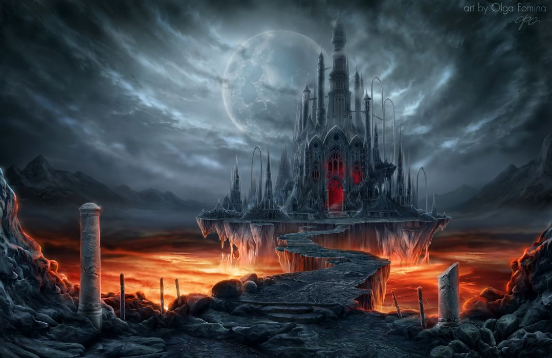 Fantastic world Gothic Castle Moon Fantasy wallpaper