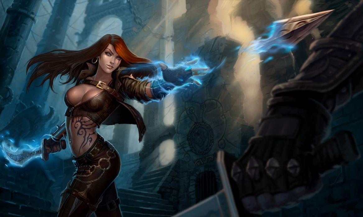 League of Legends Magic katarina Redhead girl Games Girls Fantasy warrior wallpaper
