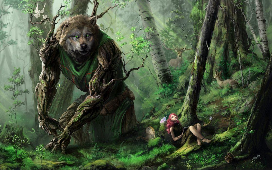 Monster Fantastic world Fantasy wolf wolves werewolf wallpaper