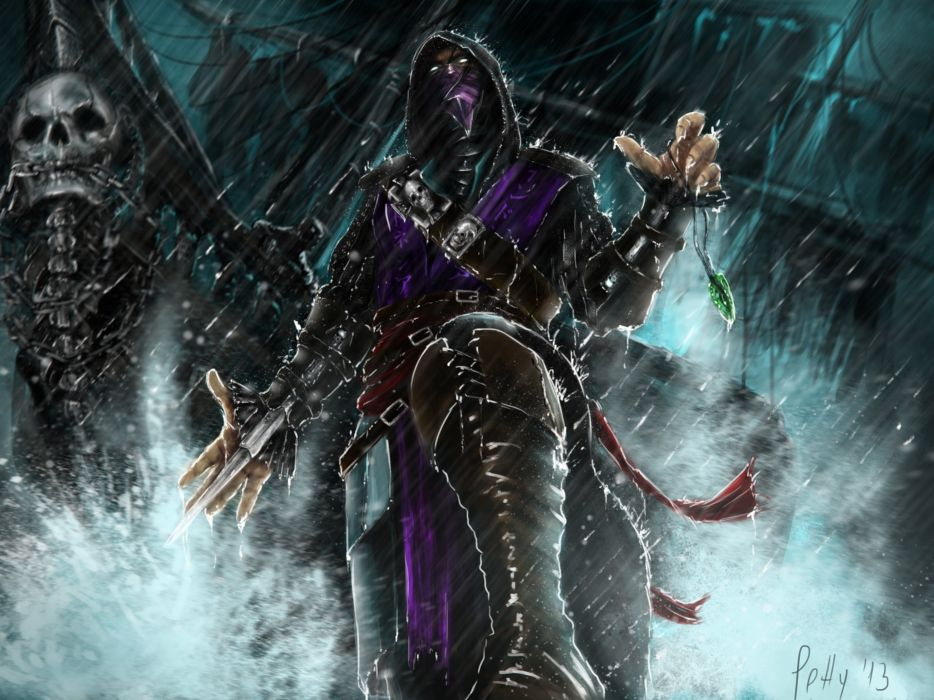 Mortal Kombat Skull Rain Rain Wearing boots Games Fantasy warrior rain wallpaper