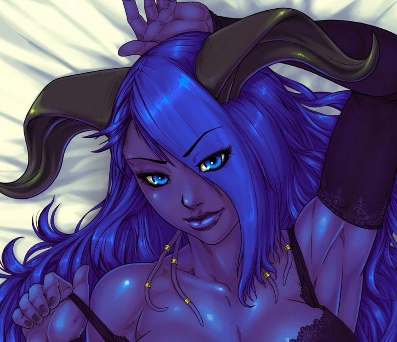 World of WarCraft ( WoW ) Syri Glance Horns Games Girls Fantasy wallpaper