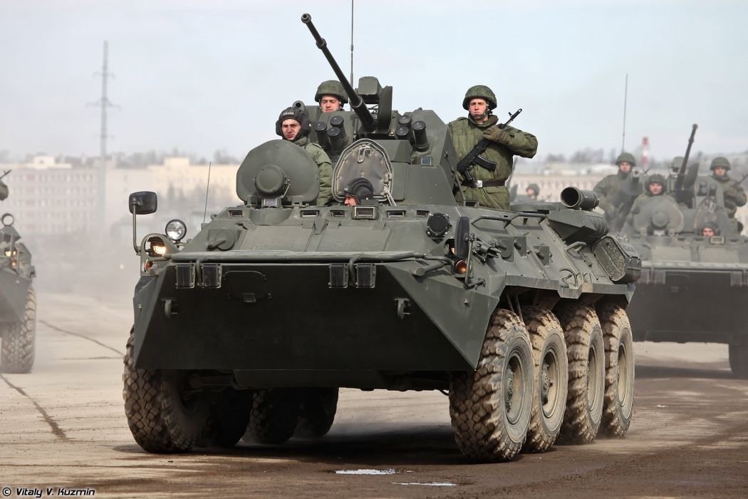 BTR-82A APC armoured April 9th rehearsal in Alabino of 2014 Victory Day Parade Russia military army russian wallpaper