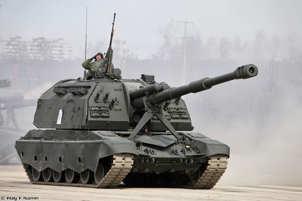 2S19M2 Msta-S SPH armoured howtizer April 9th rehearsal in Alabino of 2014 Victory Day Parade Russia military army russian wallpaper