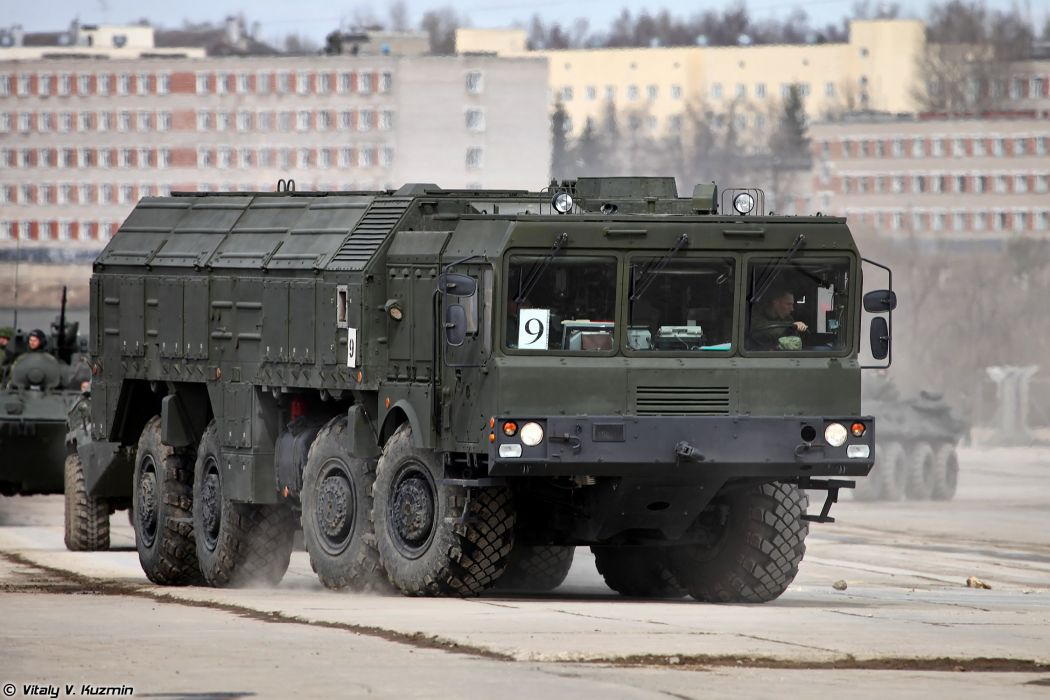 9T250 loading vehicle for Iskander-M system missile April 9th rehearsal in Alabino of 2014 Victory Day Parade Russia military army russian wallpaper