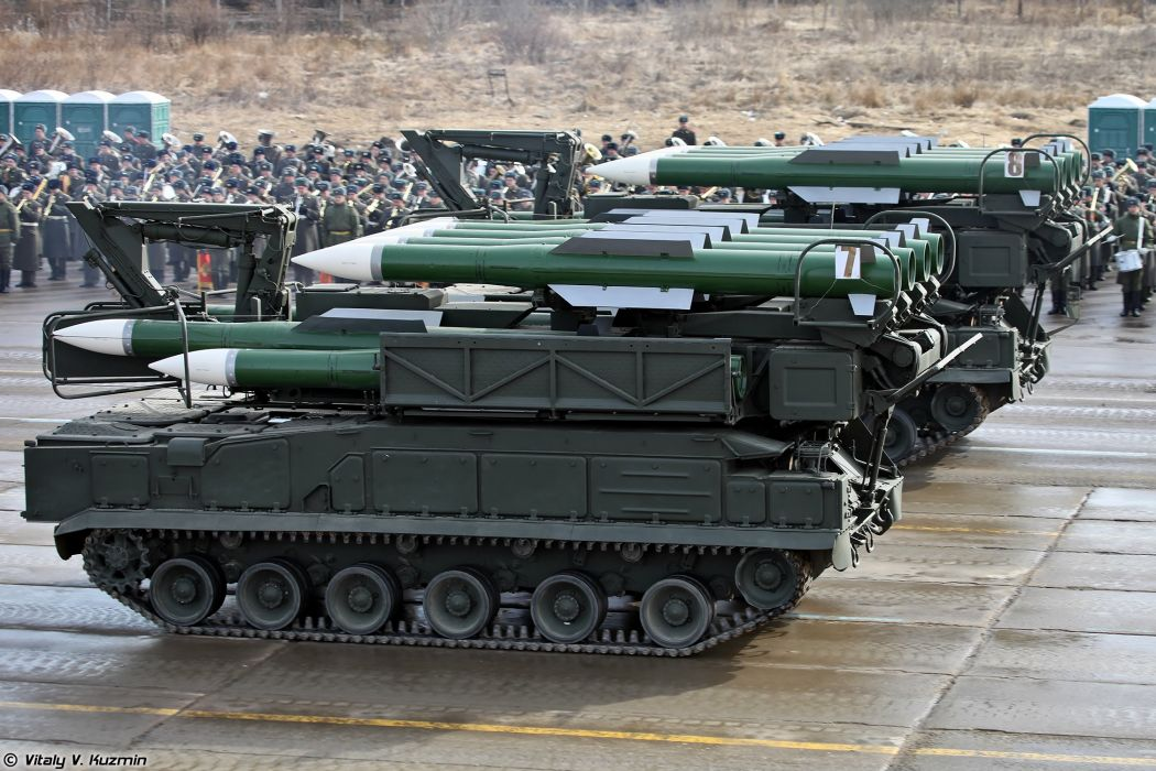 9A316 transporter erector launcher and transloader for Buk-M2 air defence system missile April 9th rehearsal in Alabino of 2014 Victory Day Parade Russia military army russian wallpaper