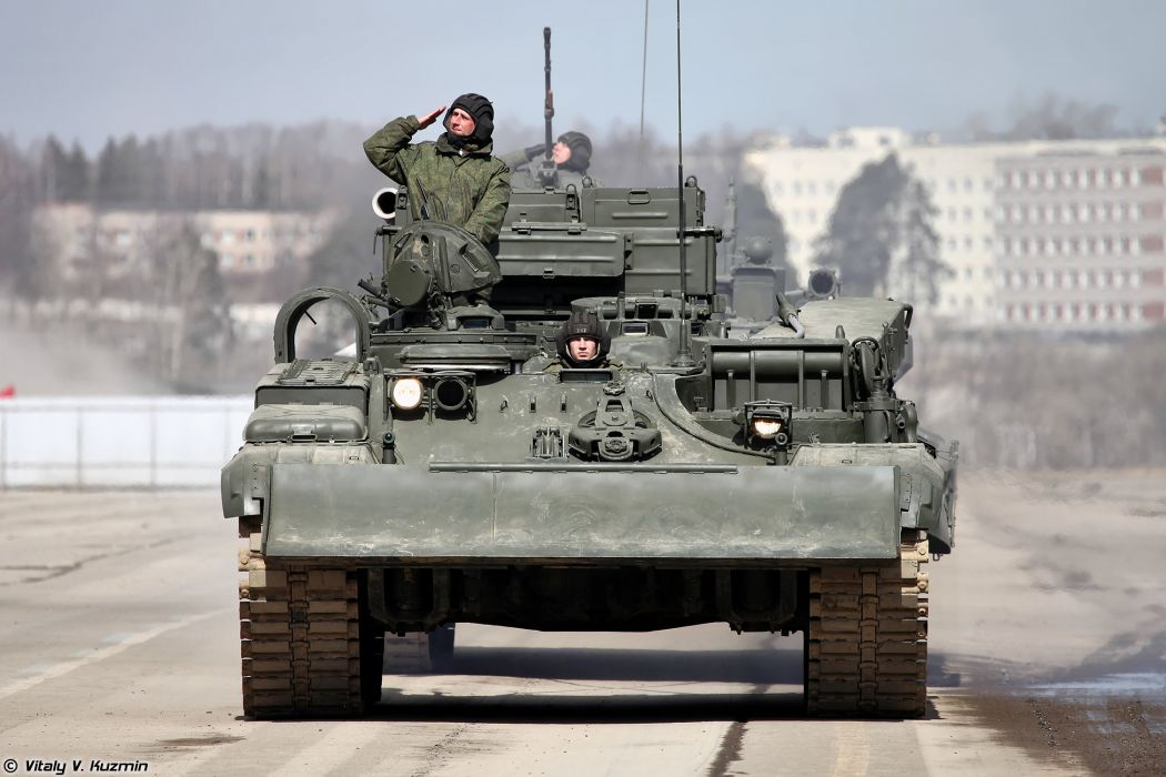 Armoured recovery vehicle BREM-1 April 9th rehearsal in Alabino of 2014 Victory Day Parade Russia military army russian wallpaper