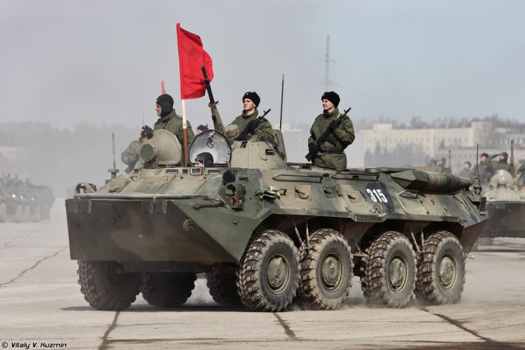 BTR-80 APC armoured red flag April 9th rehearsal in Alabino of 2014 Victory Day Parade Russia military army russian wallpaper