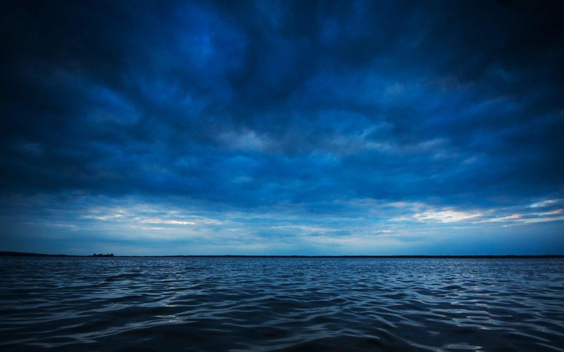water blue ocean clouds horizon waves lakes waterscapes sea wallpaper