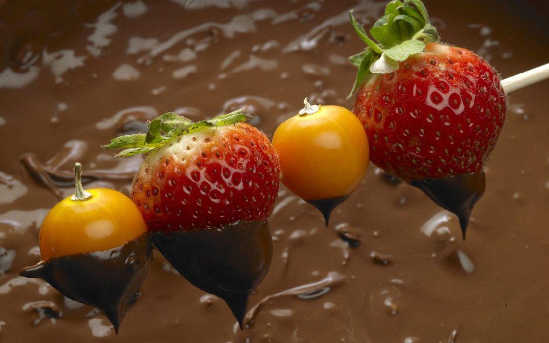 fruits chocolate strawberries wallpaper