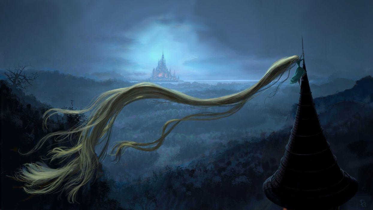 blondes castles tower forests long hair escape Rapunzel fairy tales wallpaper