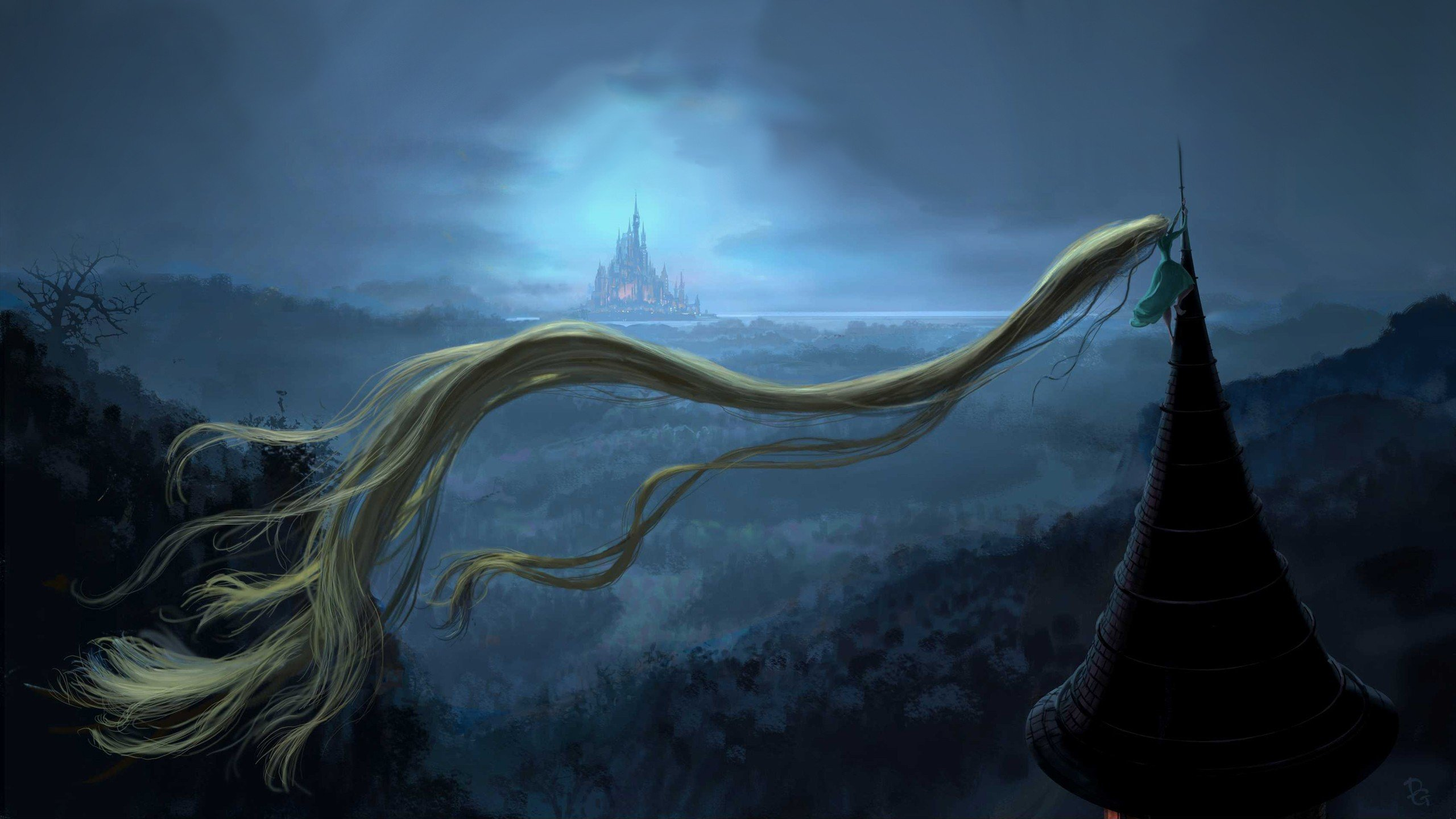 Blondes castles tower forests long hair escape rapunzel fairy tales wallpaper 2560x1440 - Tangled tower wallpaper ...