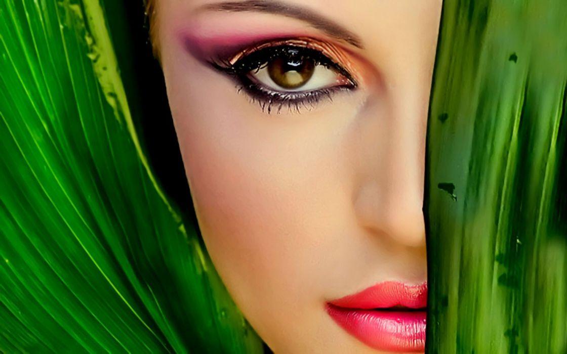 women brown eyes faces wallpaper