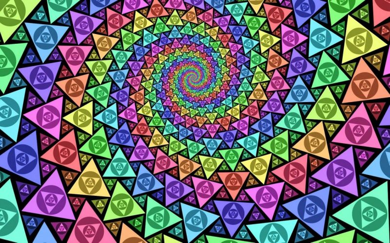 spiral psychedelic rainbows trippy colors triangles wallpaper