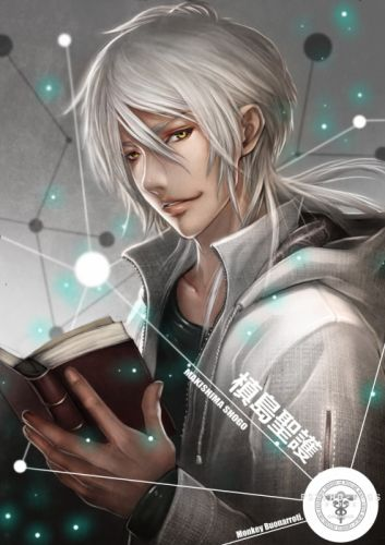 long hair books yellow eyes anime boys soft shading zippers sweatshirt silver hair Psycho-Pass Makishima Shougo wallpaper