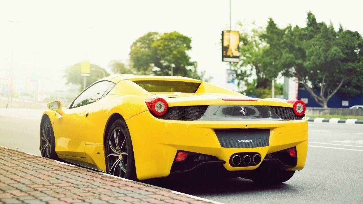 cars Ferrari roads vehicles Ferrari 458 Italia yellow cars wallpaper