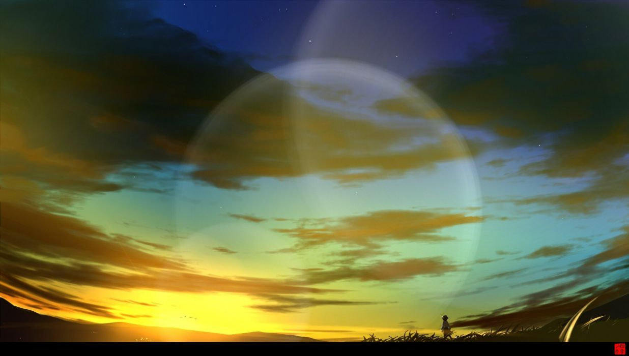 sunset video games clouds Touhou lens flare skyscapes Usami Renko anime girls skies wallpaper